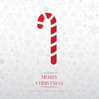 Arte de papel de Natal Candy com fundo de floco de neve branco