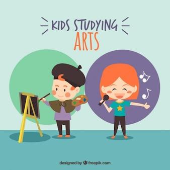 Artes agradáveis crianças estudando