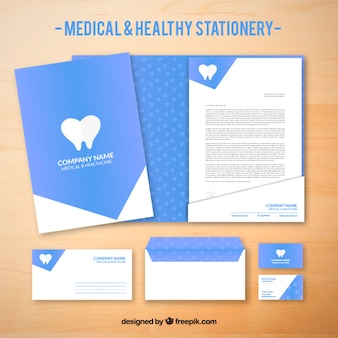 Artigos de papelaria azul médica