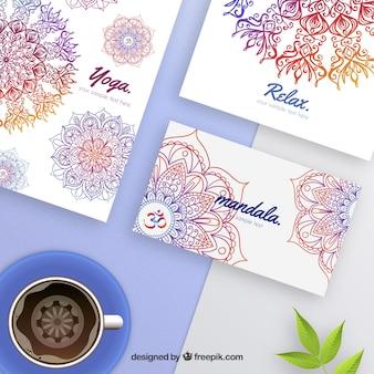 Artigos de papelaria coloridos mandala