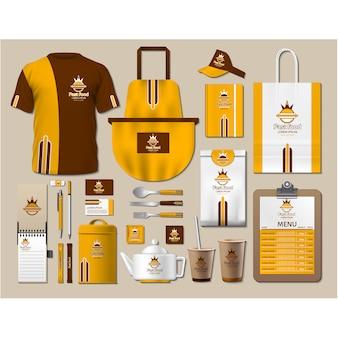 Artigos de papelaria de café com design amarelo
