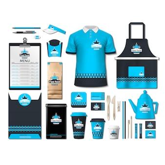 Artigos de papelaria de café com design azul
