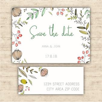 Artigos de papelaria de casamento com economias de cartão de data e etiqueta de endereço