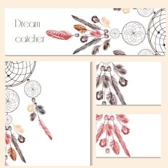 Artigos de papelaria decorados com desenhos Dreamcatcher