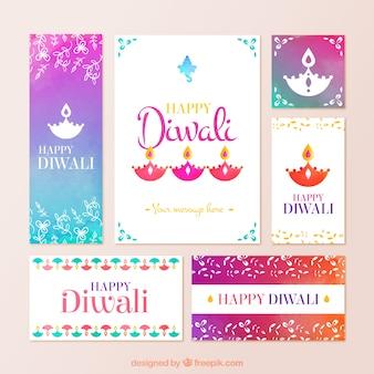 Artigos de papelaria Diwali colorido em estilo abstrato