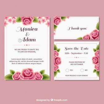 Artigos de papelaria do casamento com rosas