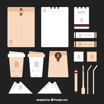 Artigos de papelaria e de café