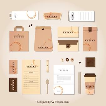 Artigos de papelaria Jogo de café no projeto do vintage