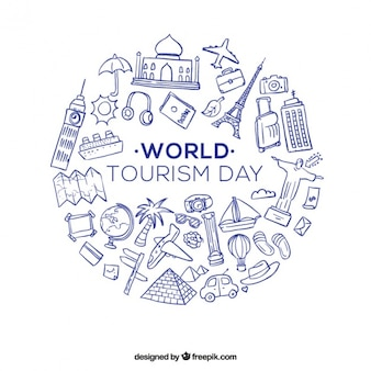Artigos de viagem desenhados mão para o dia mundial do turismo
