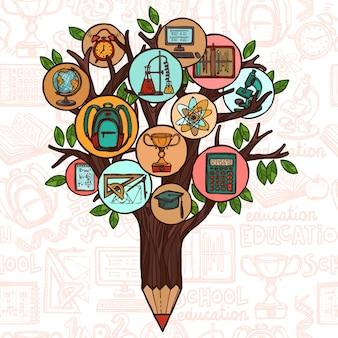 Árvore com ícones de educação