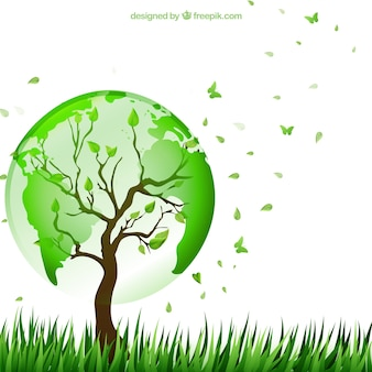 Árvore com o mapa do mundo