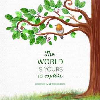 Árvore com pássaro e mensagem inspiradora