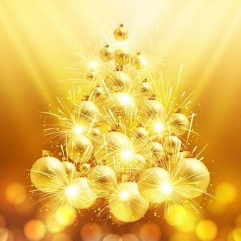 Árvore de Natal brilhante feita de bolas de natal