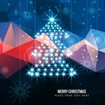 Árvore de Natal brilhante no fundo poligonal