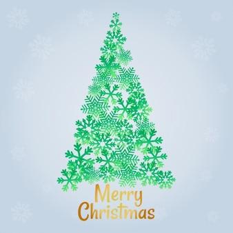 Árvore de Natal com letras douradas