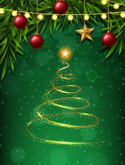 Árvore de natal e ornamentos sobre fundo verde