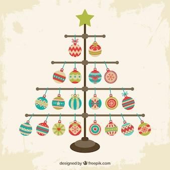 Árvore de Natal feita de bolas de natal