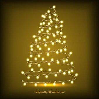 Árvore de Natal feita de luzes brilhantes
