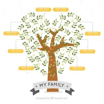 árvore genealógica com em forma de coração
