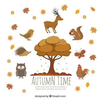 Árvore outonal e animais agradáveis