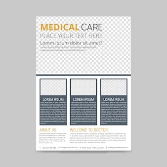 As caixas brancas e cinzentas projetam o modelo de layout do médico flyer