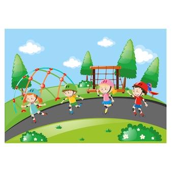 As crianças se divertindo no parque