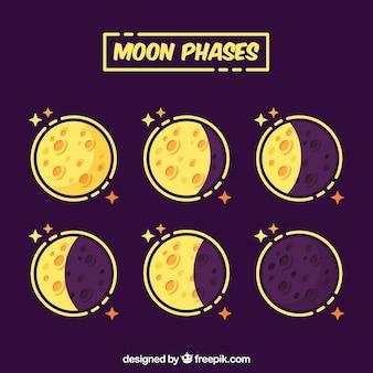 As fases da lua amarelas