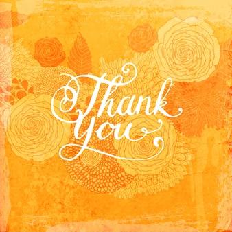 Assinatura ornamentada do Tag da acção de graças do sentimento
