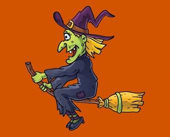 Assustador bruxa voando em uma vassoura