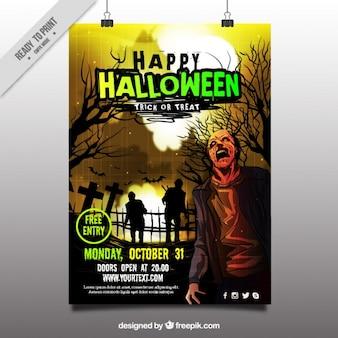 Assustador poster do partido do dia das bruxas