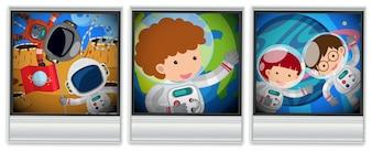 Astronautas em três quadros de fotos