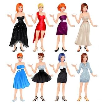 Avatar feminino com vestidos e sapatos Vector ilustração isolado objetos 8 vestidos diferentes e 8 sapatos