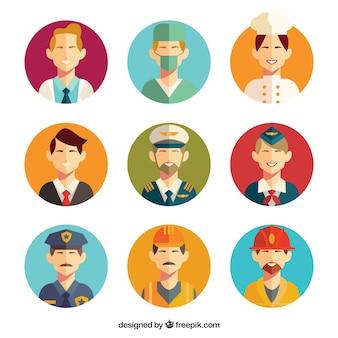 Avatares de trabalhadores masculinos com design plano