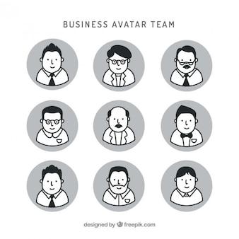 avatares equipe agradável de negócios desenhados mão