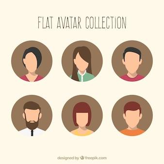 Avatares planos com estilo moderno
