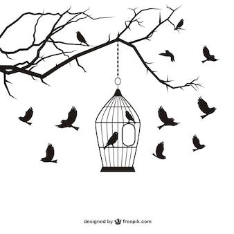 Aves e gaiola vector