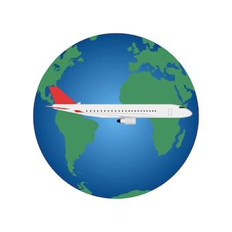 Avião voando ao redor do mundo