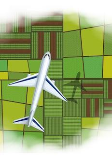 Avião voando sobre as terras agrícolas