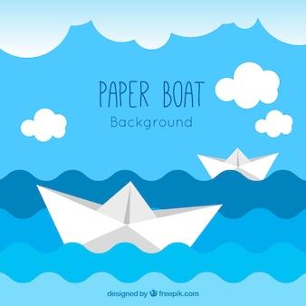 Azul, branca, papel, barcos, fundo