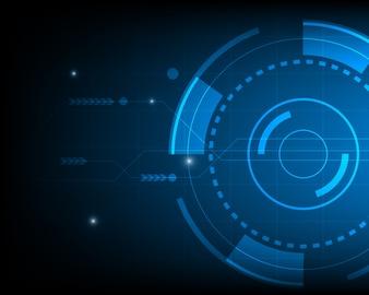 Azul, círculo, abstratos, digital, tecnologia, fundo, futurista