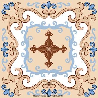 Azul e azulejos de cerâmica bege