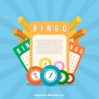 Azul, fundo, elementos, bingo