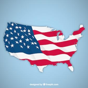 Azul, fundo, mapa, bandeira, unidas, estados