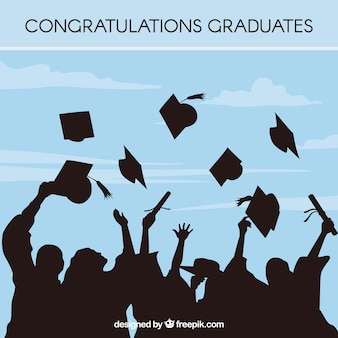 Azul, graduação, fundo, estudante, silhuetas