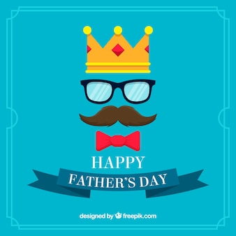 Azul, pai, dia, fundo, coroa, bigode, óculos