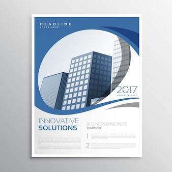Azul panfleto negócios folheto de design da página de rosto relatório anual