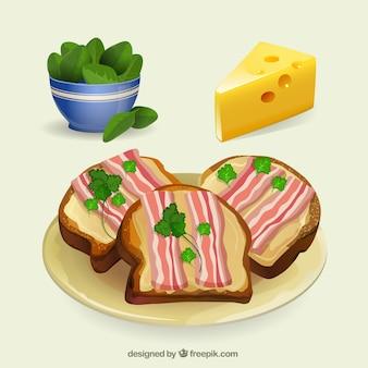 Bacon e queijo torradas
