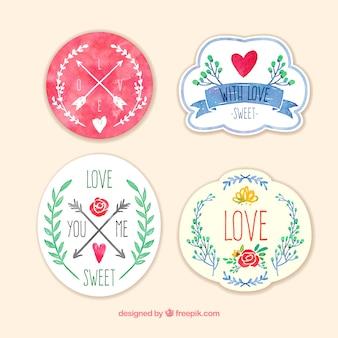 Badges conjunto de amor em aquarela