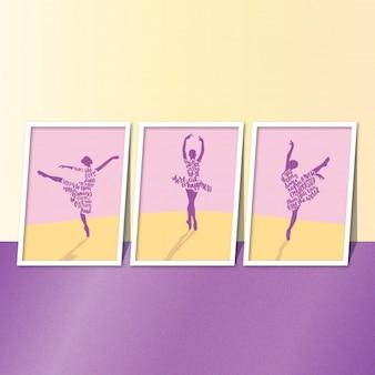 Bailarina de bailarinos cita um conjunto de três
