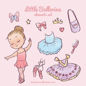 Bailarina pequena bonita com seus complementos